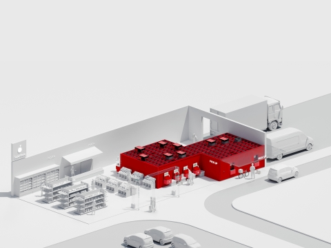 The AutoStore system enables retailers to store a high density of products on site as well as offering pick up points for online orders. (Photo: Business Wire)
