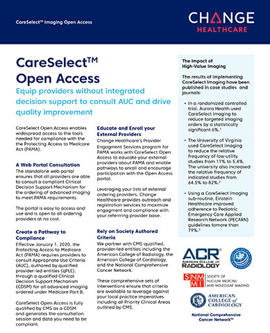 Change Healthcare CareSelect Imaging Open Access Fact Sheet
