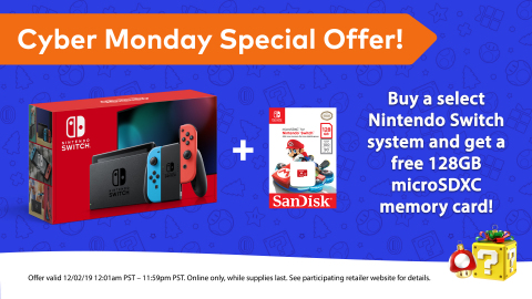 From now until the end of Cyber Monday, consumers that purchase a select Nintendo Switch system on the digital storefront of participating retailers will receive a 128GB SanDisk microSD card at no extra cost. (Graphic: Business Wire)