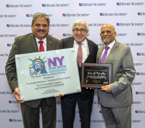 Left to right: Dr. Lauro Medrano, General Chairman of the Greater New York Dental Meeting; Stanley M. Bergman, Chairman of the Board and Chief Executive Officer of Henry Schein, Inc.; and Dr. Chad Gehani, President of the American Dental Association.