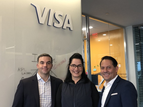 Arnoldo Reyes, Vice President of Digital Partnerships, Fintech & Ventures for Visa Latin America and the Caribbean; Anabel Perez, co-founder and CEO of NovoPayment; Ruben Salazar, Senior Vice President of Products and Innovation for Visa Latin America and the Caribbean (Photo: Business Wire)