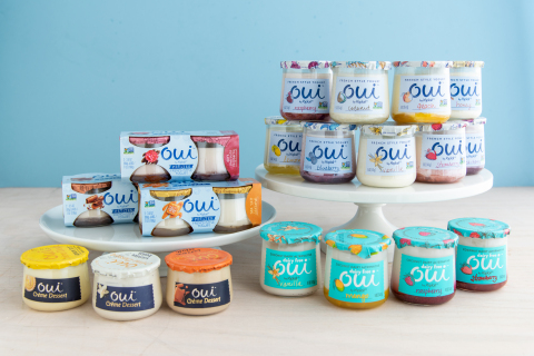 """Oui by Yoplait, the premium French-style yogurt crafted in a glass jar, today was recognized as a """"Breakthrough Innovation"""" in Nielsen's 2019 Breakthrough Innovation Report. Yoplait also announced it is expanding the Oui by Yoplait portfolio to include new Oui Dairy Free Coconut Dairy Alternative and Oui Crème Dessert lines. (Photo: Yoplait)"""