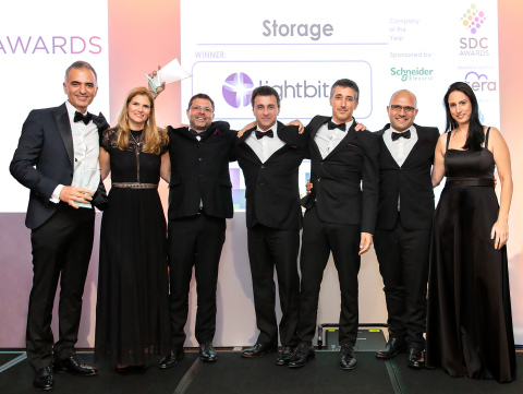 Lightbits Labs takes home storage company of the year and wins storage hardware award for SuperSSD NVMe/TCP at the SDC Awards. Posing with the awards from left to right are: Kam Eshghi, Chief Strategy Officer, Shirley Kirzner, Eran Kirzner, Chief Executive Officer and Co-Founder, George Agasandian, Director of Solutions Engineering and Co-Founder, Ofir Efrati, VP of Engineering and Co-Founder, Shaul Galia, Chief Operations Officer, and Miki Avni, Chief Financial Officer. (Photo; Business Wire)