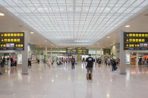 Inside the terminal of the Barcelona airport. (Photo: Business Wire)
