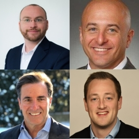 New STEALTHbits management hires, clockwise from top left: Gerrit Lansing, Field CTO; Ralph Martino, Vice President of Product Strategy-Data Access Governance (DAG); Adam Laub, Chief Marketing Officer; and Mike Vick, Vice President of Sales.  (Photo: Business Wire)