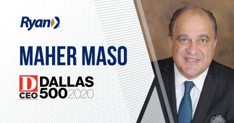 Ryan, a leading global tax services and software provider, announced Maher Maso, principal, Credits and Incentives, has been named to D CEO's 2020 Dallas 500 in the Nonprofits and Government Economic Development category. (Photo: Business Wire)