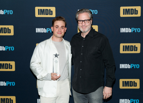 2019 IMDbPro Breakout Star Award Recipient Dacre Montgomery and Head of IMDbPro Matt Kumin (Rich Polk/Getty Images for IMDb)