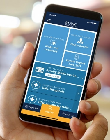 UNC Health Care has introduced a new mobile app that will help patients and their families easily find their way around the campuses of UNC Medical Center in Chapel Hill and UNC REX Healthcare in Raleigh. The app provides turn-by-turn navigation inside the two hospitals, parking garages, clinics and more. (Photo: Business Wire)