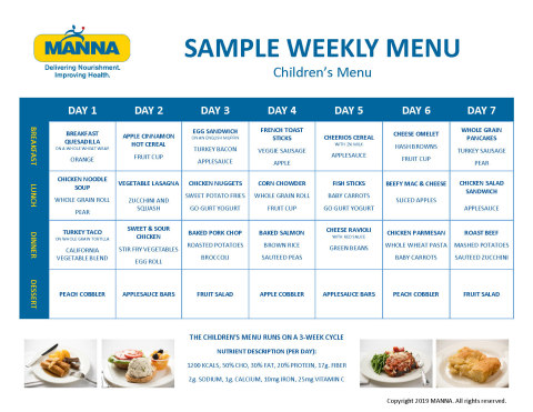 Children's Sample Weekly Menu. Infographic courtesy of MANNA.