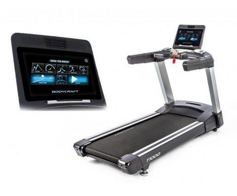 "BodyCraft T1000 16"" Experience-series treadmill with smart touch console. It's entertainment on the run."