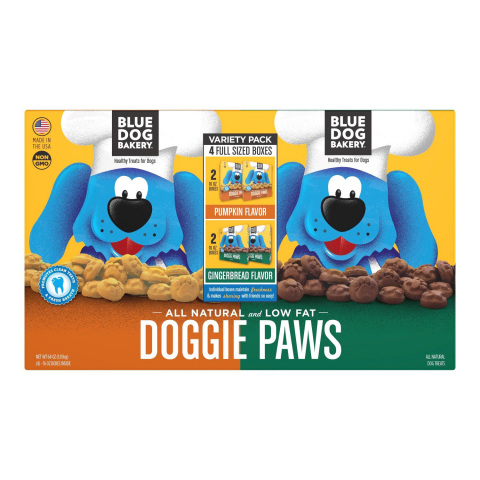 Members can spoil their furry friends with treats and toys from BJ's Wholesale Club, such as Blue Dog Bakery Doggie Paw Pumpkin & Gingerbread Flavor Dog Treats, 4 pk. (Photo: Business Wire)