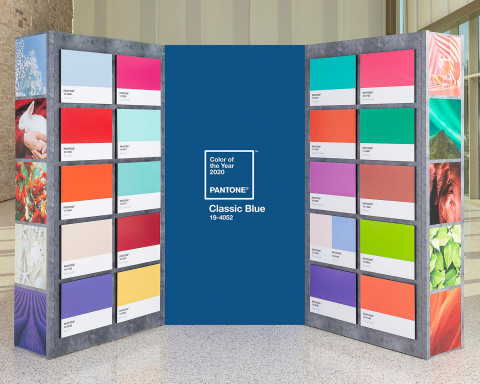 FedEx Office helped announce the Pantone® Color of the Year 2020. Using state-of-the-art color matching and print technology, FedEx Office brought past Pantone Colors of the Year to life through this multi-dimensional print installation. (Photo: Business Wire)