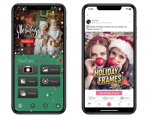 Perfect Corp.'s photo editing app, YouCam Perfect, debuts exclusive holiday content to dress up your photos all season long. (Photo: Business Wire)