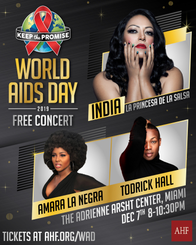 AHF's MIAMI World AIDS Day concert on Saturday, December 7th will feature performances by India, Amara La Negra and Todrick Hall. (Graphic: Business Wire)