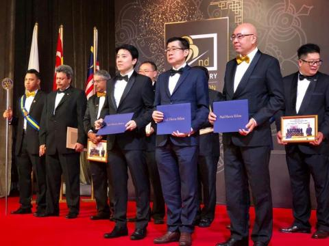 Fusionex Founder and Group CEO Dato' Seri Ivan Teh (left) receiving the Paul Harris Fellow award, the highest honor conferred by the Rotary Club to individuals who have contributed to good causes with honor. Received this honor with two other outstanding individuals, Dato Goh founder of Gintell Group (middle) and Dato Vincent founder of Subway Group (right). (Photo: Business Wire)
