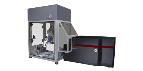 The world's first integrated 3D bioprinter + confocal scanner (BioAssemblyBot + GE IN Cell Analyzer 6500 HS) (Photo: Business Wire)