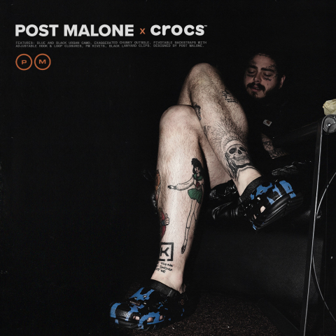 The Post Malone x Crocs Duet Max Clog is an innovative clog silhouette with a unique blue and black urban camo pattern, an exaggerated chunky outsole and pivotable backstraps with adjustable hook and loop closures. This is the fourth collaboration between the duo. (Photo: Business Wire)
