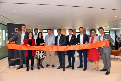 Ribbon-cutting ceremony at Goodwin's newly-relocated Hong Kong office. Left to right: Partner Gregory Barclay, Partner Wendy Pan, Partner Abhishek Krishnan, Office Manager Louisa Li, Partner Douglas Freeman, Partner and Hong Kong Office Chair Yash Rana, Partner Victor Chen, Partner Daniel Lindsey, Partner Chi Pan and Partner Bosco Yiu. (Photo: Goodwin)