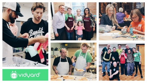 """Vidyard's Community Engagement Program donates more of what matters most: time, talent and treasure. With more than 2000+ volunteer hours contributed, 2070 community meals served, and 15 local charities supported in 2019, Vidyard continues to act upon its community engagement initiatives building a strong """"give back"""" strategy that inspires others. (Photo: Business Wire)"""
