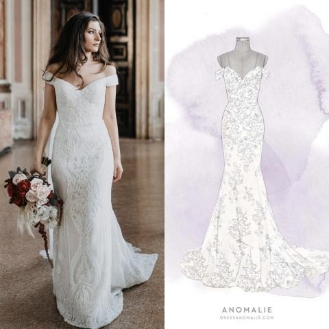 A bride's dream wedding dress comes to life using Anomalie's DressBuilder tool. (Graphic: Anomalie)