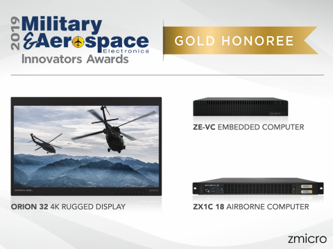 ZMicro honored with three Gold Awards for its Orion 32 Rugged 4K Display, ZX1C 18 Airborne Server, and ZE-VC Embedded Computer (Graphic: Business Wire)