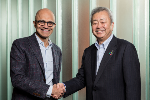 Satya Nadella, CEO, Microsoft (left), Jun Sawada, CEO, NTT (right) (Photo: Business Wire)
