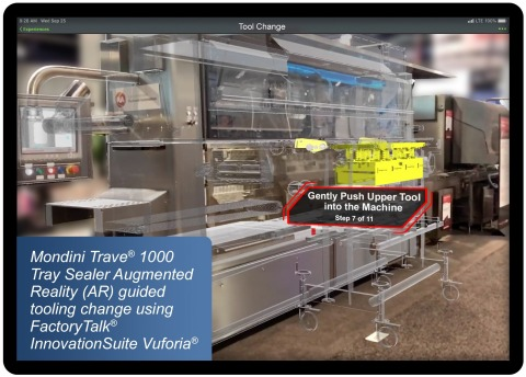Harpak-ULMA's Mondini Trave® 1000 Tray Sealer Augmented Reality (AR) guided tooling change using Rockwell Automation's FactoryTalk® InnovationSuite Vuforia® (Photo: Business Wire)