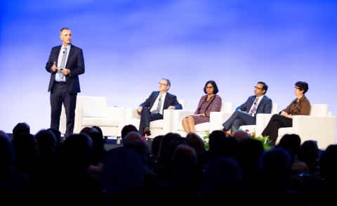 In an opening Keynote Session, IHI President and CEO Derek Feeley and colleagues gave details of IHI's work in global health, safety, care for older adults, and reducing inequities in maternal care. (Photo: Business Wire)