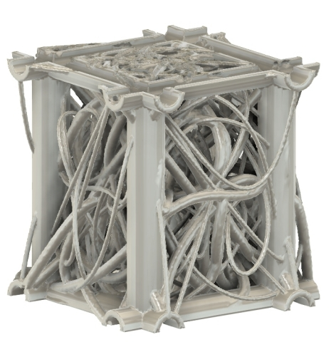 "This is a rendering of the ""Dense Curves"" 3D scaffold offered by Prellis Biologics and designed with its new TissueWorkshop™ web-based interface tailored for biologists and tissue engineers. The structure is 1 cubic centimeter, framed by large 1000 micron (1mm) channels. the interior of the structure is a dense packing of fifty 100 micron curved tubes. All channels are hollow with 100 micron thick walls, allowing for sufficient cellular nutrient and waste exchange. The scaffold represents an unbiased approach to three-dimensional architecture (curvature and angling) for optimizing 3D cell culture. (Photo: Business Wire)"