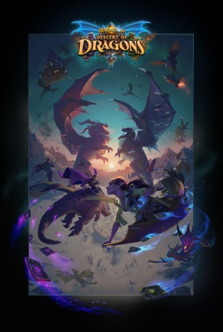 Hearthstone players can log in today to collect free rewards, including all five Galakrond Hero Cards and three Descent of Dragons card packs (Graphic: Business Wire)