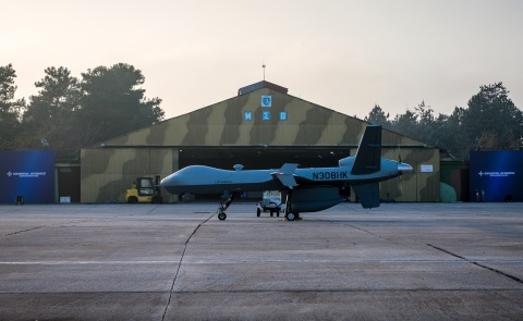 GA-ASI's MQ-9 Guardian RPA at the Larissa Air Base in Greece ready to demonstrate maritime surveillance and Detect and Avoid (DAA) capabilities. (Photo: Business Wire)