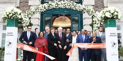 The Great Scotland Yard being formally inaugurated by Nicky Morgan, Secretary of State, Lord Jonathan Marland, Sir Edward Lister, UAE Ambassador HE Mansoor Abulhoul, Indian High Commissioner Ruchi Ghanshyam, Hyatt Hotels Global President & CEO Mark Hoplamazian in the presence of LuLu Group Chairman Yusuffali MA and Twenty14 Holdings MD Adeeb Ahamed in London. (Photo: AETOSWire)