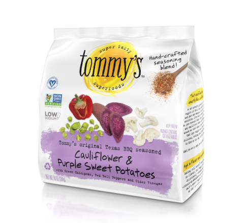 Cauliflower & Purple Sweet Potatoes is a pairing of 4 unique vegetables including super healthy purple sweet potatoes and green chickpeas, a great source of plant protein, with Tommy's original and addictive BBQ seasoning blend. (Photo: Business Wire)