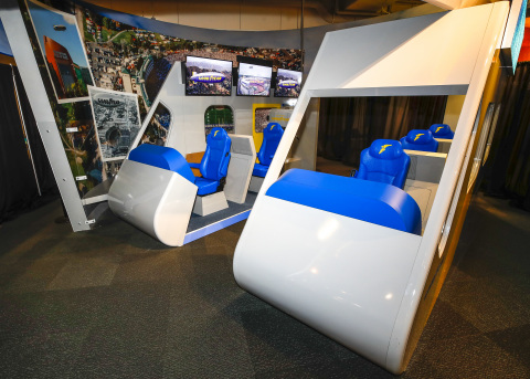 On Wednesday, Dec. 11, 2019, the Chick-fil-A College Football Hall of Fame will unveil a first-of-its-kind exhibit celebrating the Goodyear Blimp's honorary induction into the College Football Hall of Fame. The new Goodyear Blimp exhibit resembles the iconic airship's passenger gondola and features actual blimp artifacts, including an original broadcast window. (Todd Kirkland/AP Images for Goodyear)