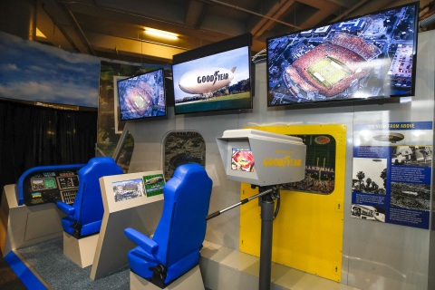 """The interior of the Goodyear Blimp exhibit, which will be unveiled on Wednesday, Dec. 11, 2019 at the Chick-Fil-A College Football Hall of Fame in Atlanta, offers """"Blimp View"""" on-demand, where fans can experience aerial views of college football's most iconic stadiums. (Todd Kirkland/AP Images for Goodyear)"""