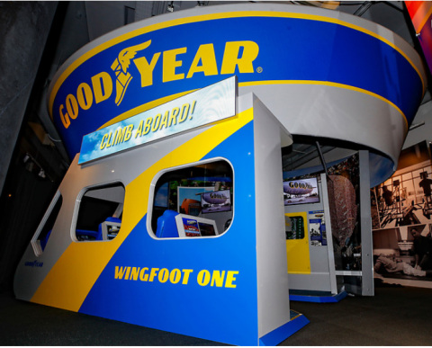 The Chick-fil-A College Football Hall of Fame's newest exhibit, which opens to the public Friday, Dec. 13, 2019, welcomes museum patrons by displaying personalized messages on the blimp's LED screen above the replica passenger gondola. The Goodyear Blimp was inducted into the College Football Hall of Fame as an honorary member this year. (Todd Kirkland/AP Images for Goodyear)