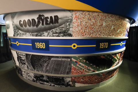 The Goodyear Blimp, a staple at college football's biggest competitions, was honorarily inducted into the College Football Hall of Fame this year as the first non-player or coach to receive the honor. The Goodyear Blimp exhibit will give fans an exciting new way to experience a college football game day. (Todd Kirkland/AP Images for Goodyear)