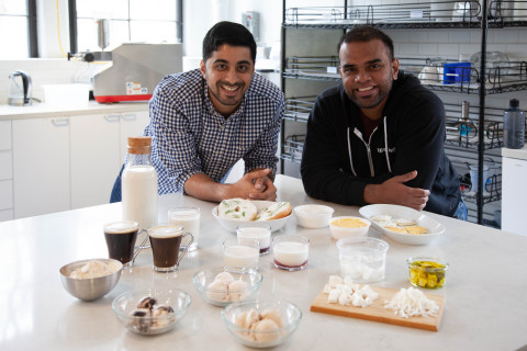 Energized by its company's mission to make the world a kinder, greener place, co-founders of Perfect Day, Ryan Pandya (L) and Perumal Gandhi (R), showcase the prospective product portfolio fueled by its flora-based dairy protein. (Photo: Business Wire)