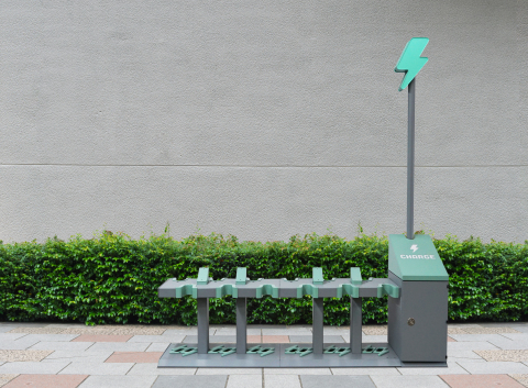 The Charge SmartStation is bringing micromobility infrastructure to cities while protecting the integrity, access, and safety of sidewalks for all pedestrians. (Photo: Business Wire)
