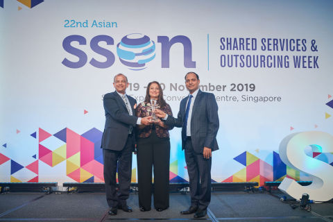 CEO Ragu Bhargava, left and COO Gita Bhargava, middle, accept the award on behalf of Global Upside. (Photo: Business Wire)