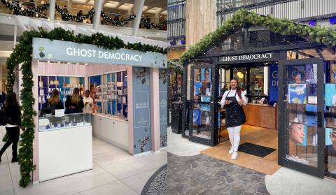 Verishop's incubated brand, Ghost Democracy, pops-up in the holiday markets at Unibail-Rodamco-Westfield's Westfield World Trade Center (left) and Westfield Century City (right). (Photo: Business Wire)