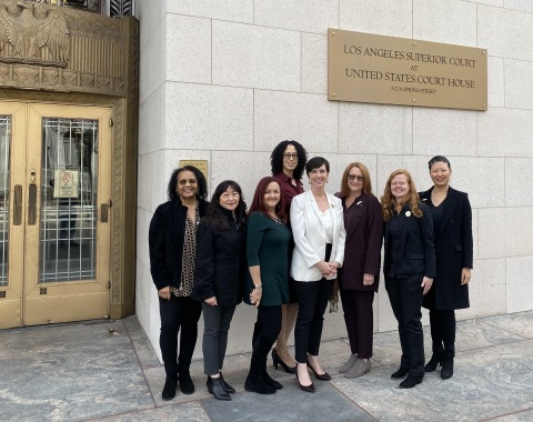 The plaintiffs present for today's hearing (pictured left to right with Lori Andrus in white): Karen Moore, Virginia Eady-Marshall, Dawn Wisner-Johnson, LaRonda Rasmussen, Nancy Dolan, Rebecca Train, and Enny Joo. (Photo: Business Wire)