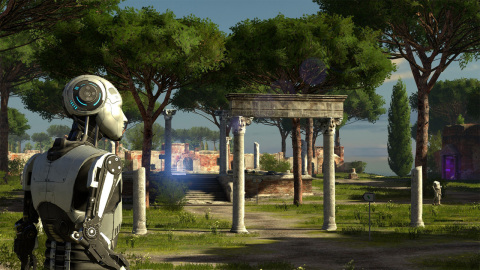 Tasked to solve a series of more than 120 complex puzzles, players will divert drones, manipulate laser beams and replicate time to prove their worth in The Talos Principle: Deluxe Edition. (Graphic: Business Wire)
