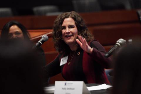 Deborah Gibbins, COO at Mary Kay, speaking at the panel tackling corporate leadership in gender equality (Photo: Mary Kay Inc.)