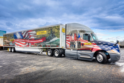 One of the new J.B. Hunt tractor and trailers being used for Wreaths Across America in 2019. (Photo: Business Wire)