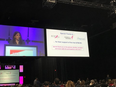 Dr. Nadine Tung presents at the 2019 San Antonio Breast Cancer Symposium. (Photo: Business Wire)