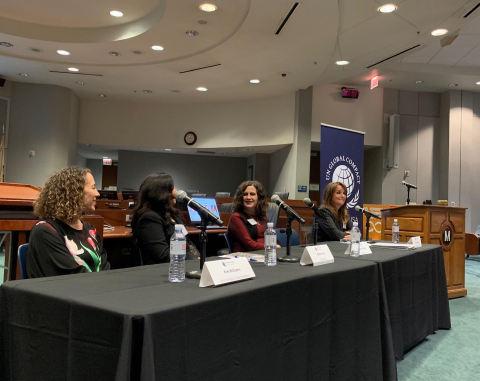 Panel on gender equality. Left to right, Kim Williams, EVP and CFO, Warner Bros., Rashmi Char, VP of Engineering, Qualcomm, Deborah Gibbins, COO, Mary Kay, and, Holly Smithson, CEO, Athena (Photo: Mary Kay Inc.)