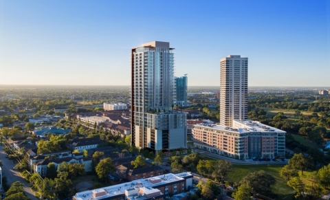 Two Hermann Place in Houston TX. 32 stories and 295 units of residential living with 18,000 sf of amenities. (Photo: Business Wire)