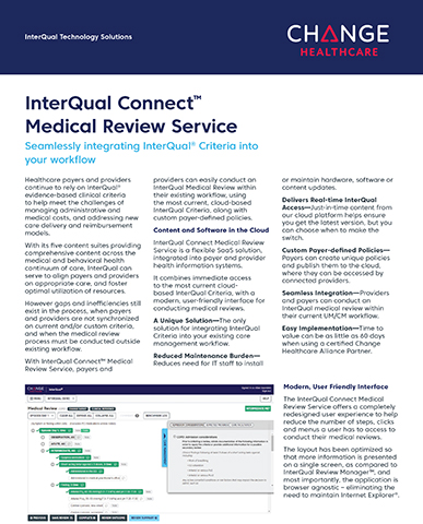 InterQual Connect Medical Review Service for Providers Fact Sheet