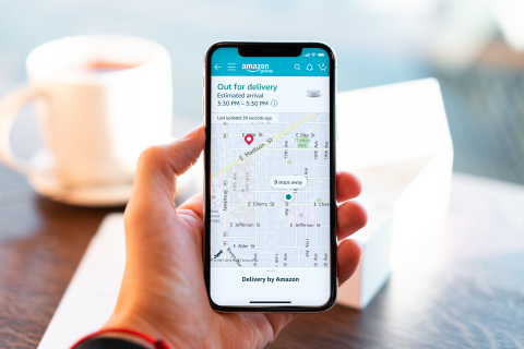 Amazon Predictive Delivery Windows - In-App Screen with Map Tracking (Photo: Business Wire)